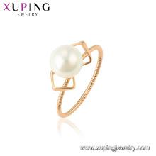 15340 xuping nuevo último anillo de oro diseños romántico blanco perla para accesorios de fiesta para la joyería de las mujeres