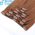 Brazilian Remy Human Hair Colored Jet Black Silky Straight Double Machine Made Hair Weft Clips in Hair Extensions