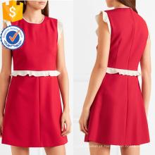 Gracioso vermelho e branco sem mangas verão babados mini vestido manufatura grosso moda feminina vestuário (ta0272d)