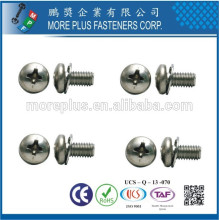 Made in Taiwan Phillips Indent Hex Washer Screws and Combination Internal Tooth Lock Washers Assembled SEMS Screws