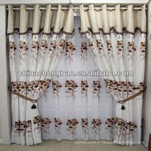 Élégant rideaux brodés blancs pour salon