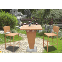 Rattan Outdoor Patio Bar Stools Set Furniture