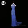 Avant-garde elegante cristal tropical diamante bling senhoras vestidos de noite