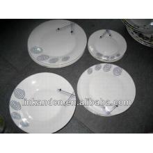 Haonai 18 piezas hechas a mano placa de cena de cerámica blanca
