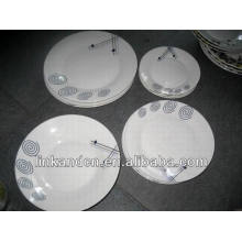 Haonai 18pcs hand made bulk white ceramic dinner plate sets