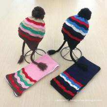 Kids Children Winter Earmuff Warm Scarf Hat Set Knitted Scarf (SK423S)