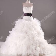 LS0114 faixa roxa falada arruinada vestido de casamento tecido de organza real venda quente vestidos de casamento royal pictures of wedding dress