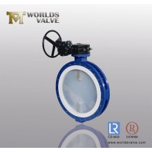 PFA Full Lined Double Flange Butterfly Valve