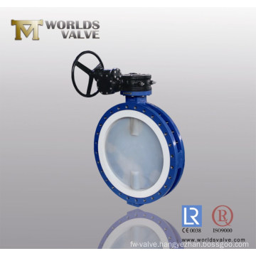 PFA Coated Double Flanged Butterfly Valve