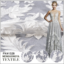 Heißer Verkauf billig gestrickte bestickte Tüll Blume weiß Braut Spitze Stoff