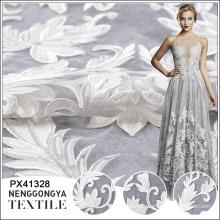Venda quente barato malha flor de tule bordado branco tecido de renda de noiva
