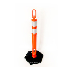 PE Material Rubber Base Road Traffic Safety High Visible Reflective Warning Post, O Top Reflective Warming Post/