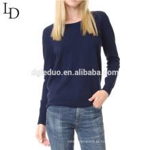 Alta qualidade pura cor outono sem encosto Lades Moda camisola estilo longo