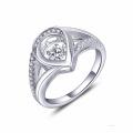 Coração 925 Anéis De Prata Dança Jóias De Diamante AAA CZ