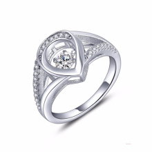 Anillo de plata del corazón 925 Joyería del diamante del baile AAA CZ