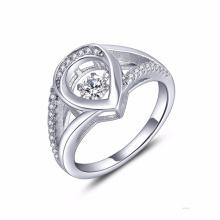 Сердце 925 Серебряное кольцо Танцующие бриллиантовые украшения AAA CZ