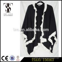 Comércio assegurado preto cobertor branco ruffle lado xadrez tricô padrão poncho merry christmas gift
