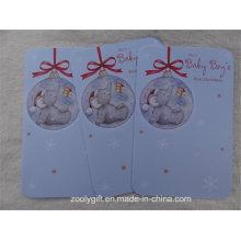 Круглая выкройка с круглым вырезом Рельефный блесток Рождественский колокольчик Поздравительные открытки для первого младенца