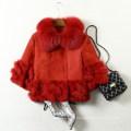 Abrigo de piel de zorro real de cuero de oveja para mujer de estilo corto