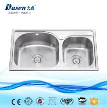 Neue Kunststoff Double Steel Kitchen Sink Becken mit Sieb und flexiblen Ablaufschlauch