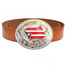 Moda alta qualidade metal personalizado bandeira fivela de cinto ocidental