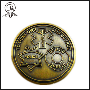 Antique custom fire engraved challenge coins