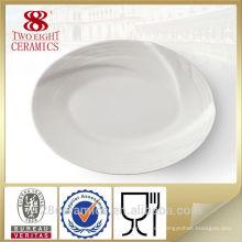 Bandejas de porcelana blanca al por mayor, plato de servicio para hotel