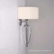 Steel Glass with Fabric Lampshade Wall Lamp (MB2174)