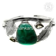 Tendencia de diseño de piedras preciosas múltiples brazalete de plata 925 joyas de plata esterlina joyas hechas a mano mayorista