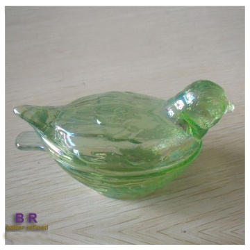 Elegante Bird Crystal Glass Candy Box Jar