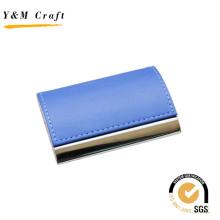 Titular de la tarjeta de presentación de cuero del metal con color azul en la parte superior