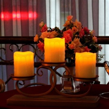 Flameless LED pillar candles with straight edge