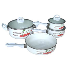 7pcs porcelain enamel cookware sets with glass lid