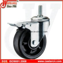 5 Inch Threaded Stem Nylon Swivel Caster with Double Brake