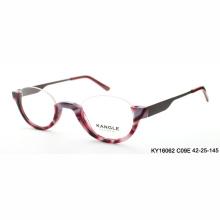 Vidrios ópticos del acetato del borde de la mitad de lado de los vidrios de lectura de la señora mayor y marco óptico