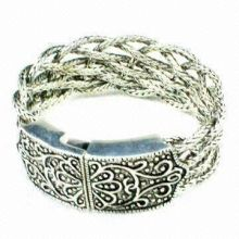 Silver Metal Copper Alloy Fashion Accessories Jewelry Cuff Bangle Bracelet 35g