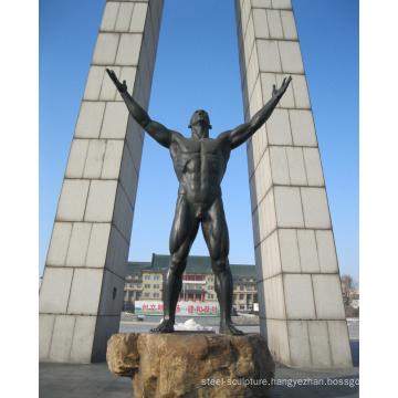 theme park statue outdoor garden decoration metal craft bronze male nude sculpture
