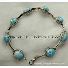Mode bijoux en Larimar argent Bracelet (BR109-8)