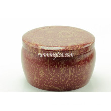 Flower Painting Round Shape Tea Tin Canister Set