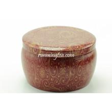 Pintura da flor de forma redonda conjunto de vasilha de estanho de chá