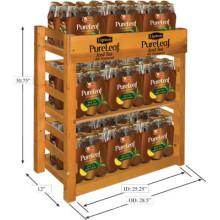 Floorstand 3-Tier Teak Wood Tea Bottle Display Rack, Advertising Sign Natural Iced Tea Rack Display