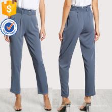 Pantalones a medida plisado con hebilla cinturón fabricación al por mayor ropa de mujer de moda (TA3084P)
