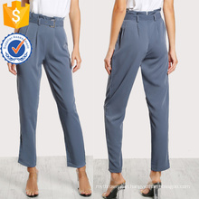 Pleated Tailored Pants With Buckle Belt Manufacture Wholesale Fashion Women Apparel (TA3084P)