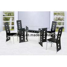 Высокое качество нового современного стекла кожа обеденный стол