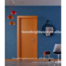 Puerta de madera rasante interior personalizada, puerta de la habitación MDF