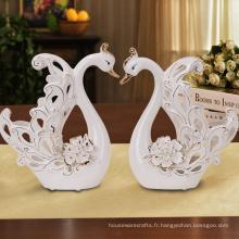 Vente en gros décoration à la main en porcelaine statue de cygne cadeau de retour de mariage