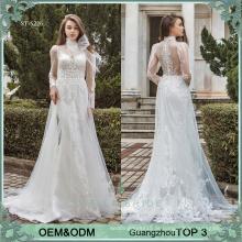 30723c6ddb598 فساتين الزفاف على الانترنت الصانع قوانغتشو فستان الزفاف الدرجة الأولى طويلة  الأكمام شاطئ فساتين الزفاف ثوب