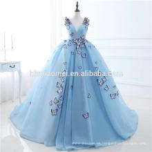 Impresionante 2017 sin mangas cuello en V profundo bordado 3D Mariposa cielo azul hilado neto Vestido de noche formal vestido de novia para la novia
