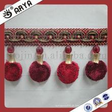 Borda de pompom de cortina vermelha, apara decorativa Fringe usada para acessórios de cortina de decoração de casa
