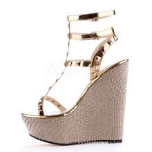 new fancy wedges lady sandal shoes